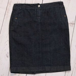 J. Crew Dark Wash Denim Midi Pencil Skirt